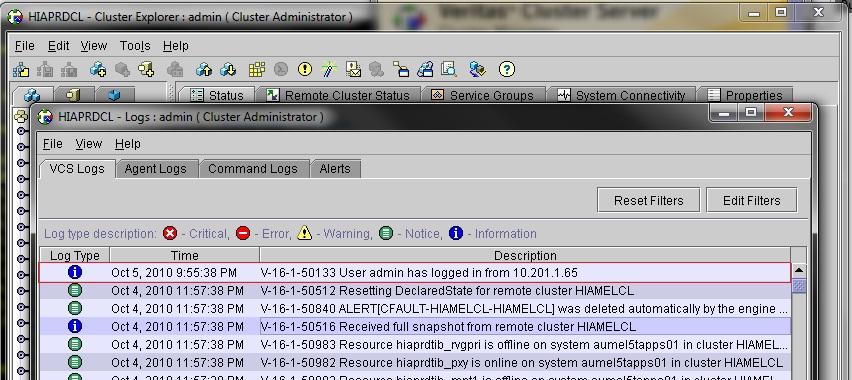 THE UNIX PROMPT # blog: veritas: VCS Java Console Logs