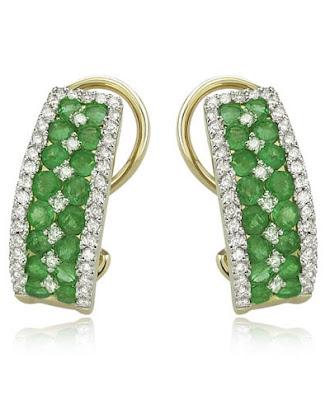 Gold Emerald Diamond Earrings