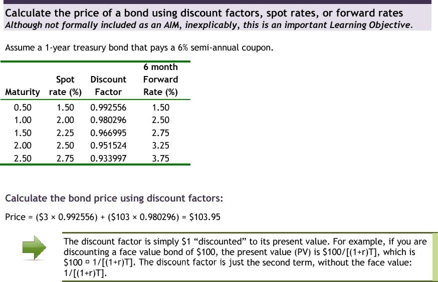 kthwow: Price of a bond using discount factors, spot rates