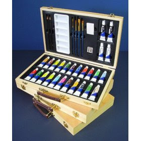 acrylic painting tips art essentials wood box set of 26 acrylic