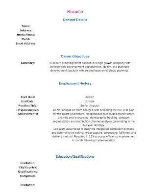 Immigration And Ielts Preparation Cv Resume Format