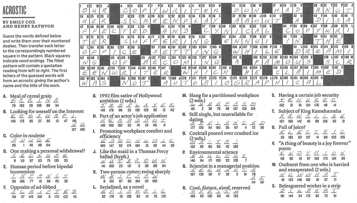 The New York Times Crossword in Gothic: March 2010