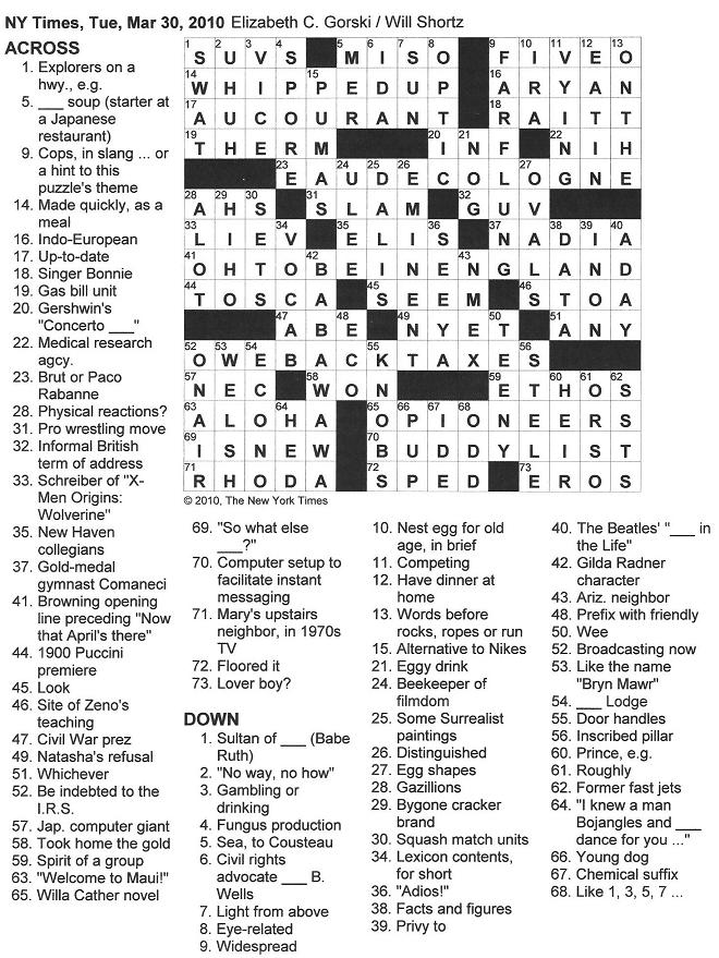 The New York Times Crossword in Gothic: 03.30.10 — 5-O