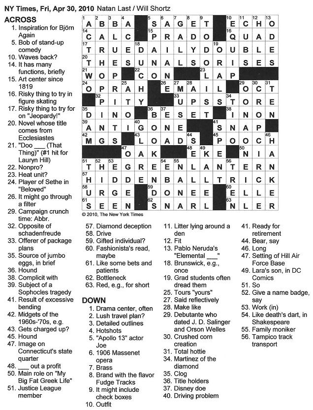 The New York Times Crossword in Gothic: April 2010