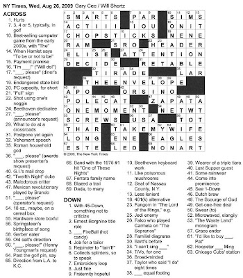 The New York Times Crossword in Gothic: August 2009