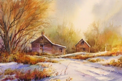 Fresh Snow watercolor painting by Roland Lee