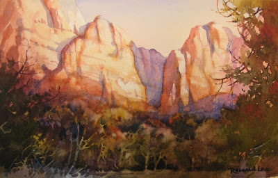 Zion National Park watercolor painting by Roland Lee