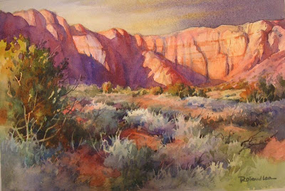 Watercolor painting of red desert in southern Utah