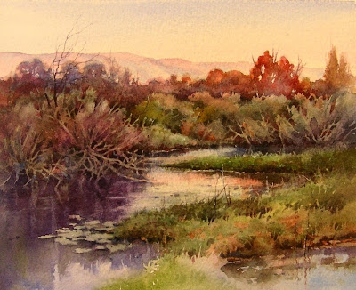 Quiet River, Watercolor Painting by Roland Lee