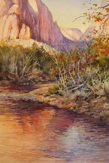 Watercolor painting of the Vrgin River in Zion National Park