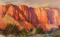 Roland Lee watercolor painting of Kayenta Cliffs in southern Utah