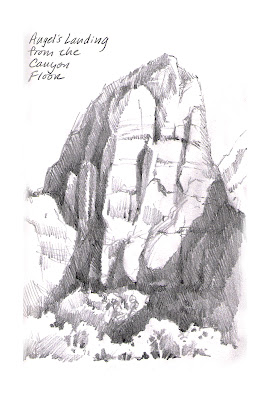 Sketchbook drawing by Roland Lee of Angel's Landing in Zion National Park