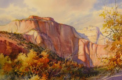 watercolor painting of the West Temple in Zion National Park