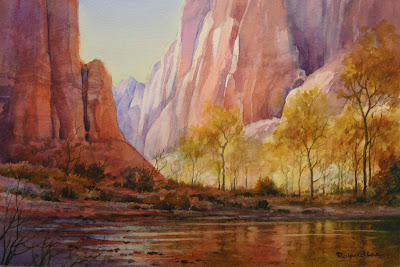 Watercolor painting of the Virgin River in Zion National Park