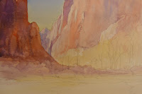 Step by step painting of Zion Canyon