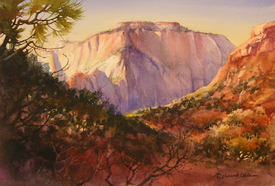 Roland Lee watercolor painting of West Temple in Zion National Park
