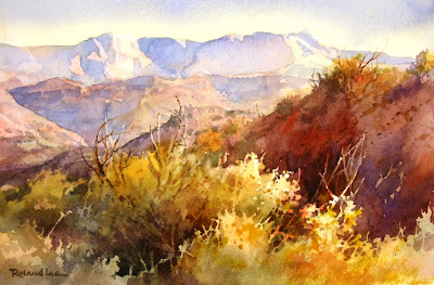 Watercolor Painting of Desert Study showing negative painting watercolor technique