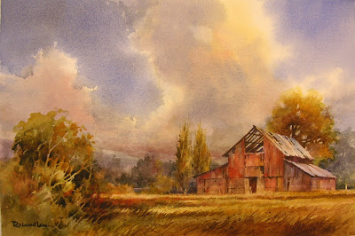 Painting of old red barn by Roland Lee