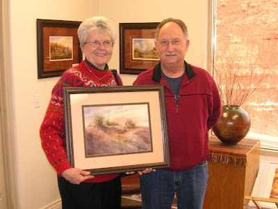 Donna and Dale Burrill with Roland Lee Watercolor Painting bought in 1981
