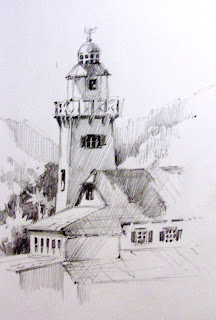 Roland Lee sketch book drawing of Catalina Island