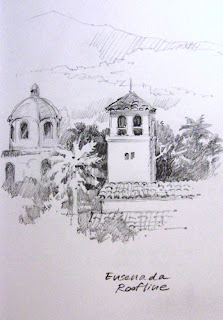 Roland Lee Sketch book drawing of Ensenada Mexico