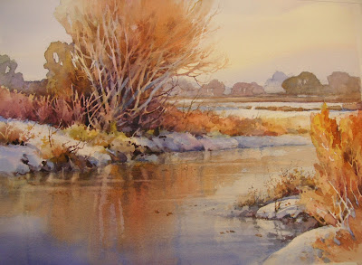 River Reflections watercolor demonstration painting by Roland Lee
