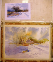 Roland Lee watercolor demonstration painting how to paint snow