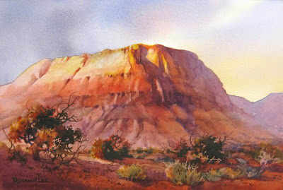 /watercolor painting by Roland Lee of southern Utah red mesa