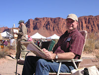 Roland Lee painting Sandstone Towers at the Kayenta Art Festival