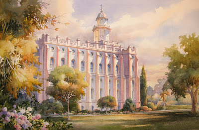 Temple Glow a painting of the St. George LDS Temple by Roland Lee