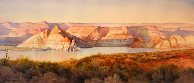 Lake powell Panorama original watercolor painting by Roland Lee featured in Art-Talk magazine Calendar section April 2007 issue