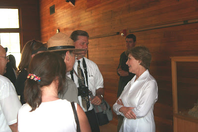Photo of artist Roland Lee with First Lady Laura Bush at Zion National Park