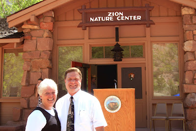 Roland and Nellie Lee in front of the Zion Nature Center at Zion National Park before Laura Bush's speech