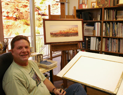 Roland Lee in his St. George art studio courtesy of 15 Byytes magazine. Photo by Lisa Huber.