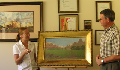 Roland Lee painting of West Temple, Zion National Park, and newly acquired painting by Frederick Dellenbaugh painted in 1903 of Zion National Park area