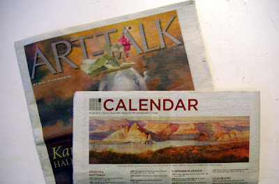 Photo of Roland Lee painting and cover of Art-Talk magazine