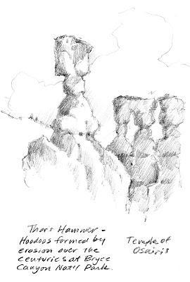 Thors Hammer at Bryce Canyon Ntional Park sketch book drawing by Roland Lee