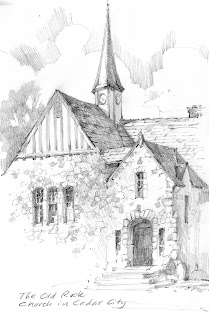 Sketch book drawing of Old Rock Church in Cedar City Utah by Roland Lee