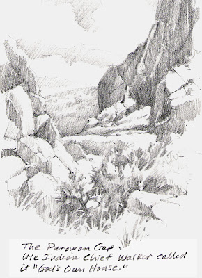 Roland Lee sketchbook drawing of Parowan Gap in southern Utah