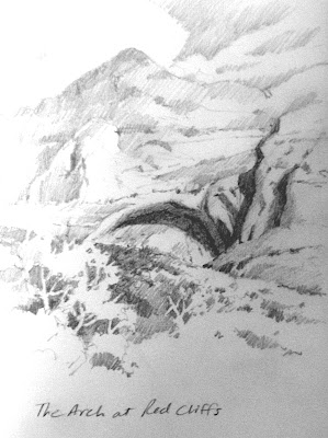 Roland Lee drawing of arch near Red Cliffs Campground