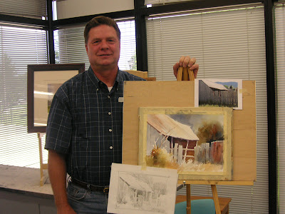 Roland Lee with watercolor demonstration painting at June 2007 workshop