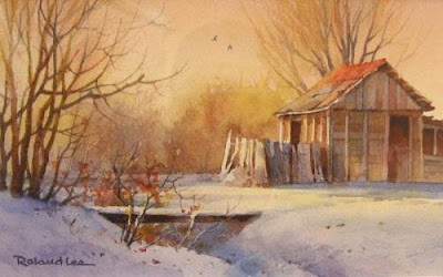 Country snowfall watercolor painting of barn in the snow by Roland Lee