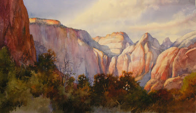 Watercolor painting West Temple in Zion National Park from Bridge Mountain
