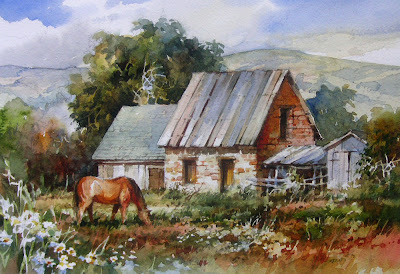 Watercolor painting of a Midway, Utah farm by Roland Lee