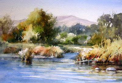 Roland Lee Watercolor painting of the Provo River in Midway Utah