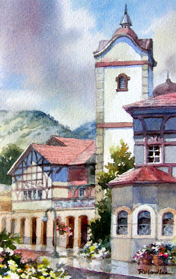 Roland Lee watercolor painting of the Zermatt Resort in Midway Utah