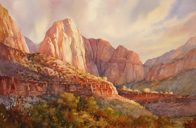 5 Minutes of Fame painting of Zion Naitonal Park by Roland Lee