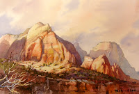 Watercolor painting of Zion National Park by Roland Lee, Winter in Zion