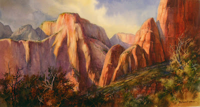 Watercolor painting of Zion National Park, Altar of Sacrifice by Roland Lee