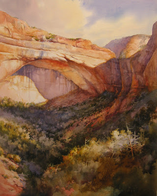 Watercolor painting of the Great Arch in Zion by Roland Lee